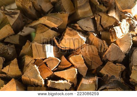 firewood as background . Photo of an abstract texture