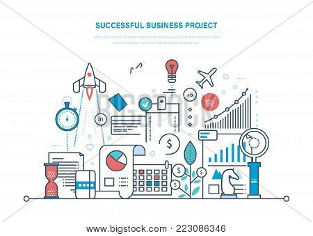 Successful business project. Start-up, project management, control and time management, marketing, statistics, analysis, data control, analysis of results, planning Illustration thin line design