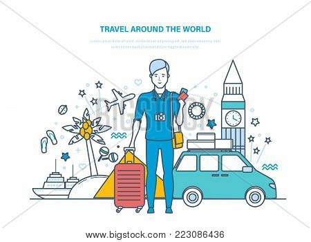 Traveling around the world. Traveling by car, trip through Europe and tropical countries. Holding vacation and holidays, in summer in Europe, relaxing, culture. Illustration thin line design.