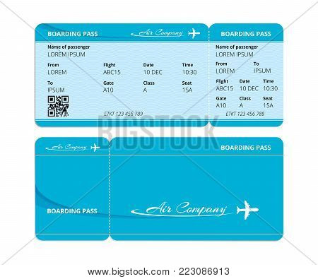 Modern paper blue boarding pass, talon for air travel, badge for checking travelers with data and an airplane silhouette. Air transport, airline ticket on board the aircraft. Vector illustration.