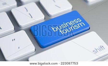 High Quality Render of a Computer Keyboard Key. The Button is Blue in Color and there is Text Business Tourism on It. White Keyboard with Business Tourism Blue Button. 3D.