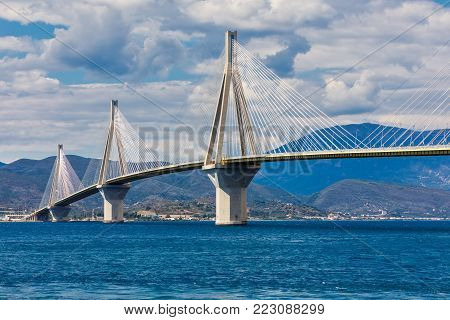 View Of Suspension Bridge Rio-antirio In Greece