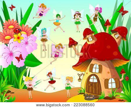 Fairies fly around the mushroom house. Fairies next to the mushroom house and flowers.
