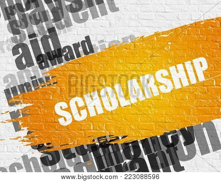 Business Education Concept: Scholarship Modern Style Illustration on Yellow Distressed Paintbrush Stripe. Scholarship - on the White Brickwall with Wordcloud Around. Modern Illustration.