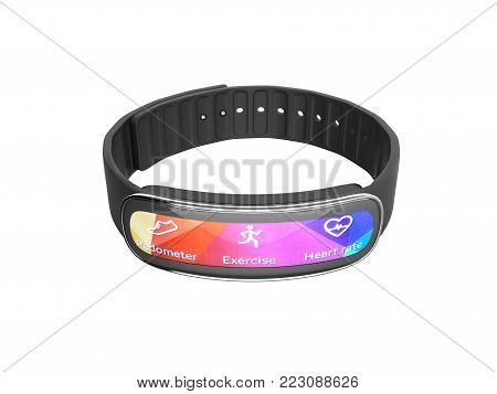fitness bracelet smart watch isolated on white background without shadow 3d