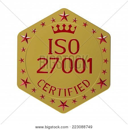 ISO 27001 standard, information security standard, 3D render, isolated on white