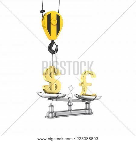 Concept of exchange rate support dollar vs pound The crane pulls the dollar up and lowers the pound sterling on white gradient background 3d without shadow