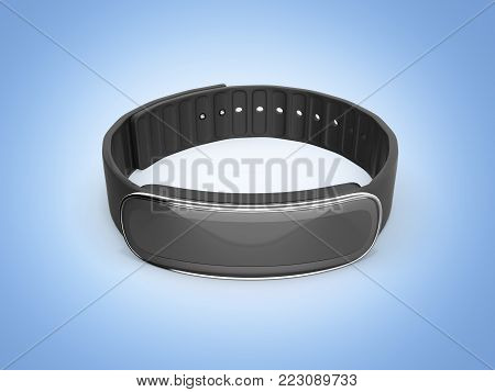 fitness bracelet smart watch isolated on blue gradient background 3d