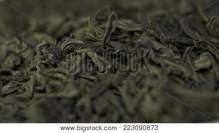 Dry Tea, Dried Leaves. Black Tea Leaves Background. Dry Leaf Green Tea On A White Background. Pile O