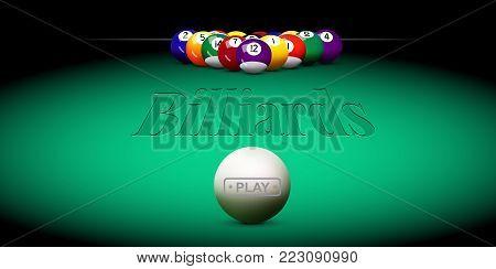 Vector billiard illustration. Green billiard table with balls