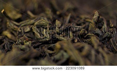 Background Texture Of Sencha Green Tea - Fresh, Sweet, Delicate Tea. Black Tea Close Up Background.