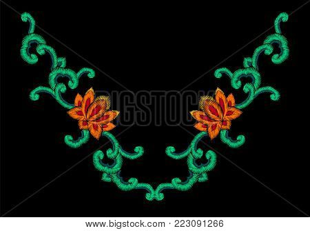 National Korean oriental embroidery imitation ornament. Lotus flower jade curl decoration fashion style design template. Ethnic asian vector illustration art