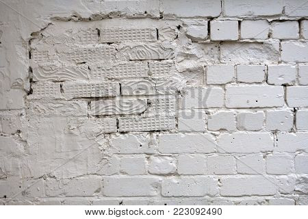 Old Stucco White Brick Wall. Abstract Whitewash Brickwall Background Texture. Vintage Web Banner Wide Screen For design .