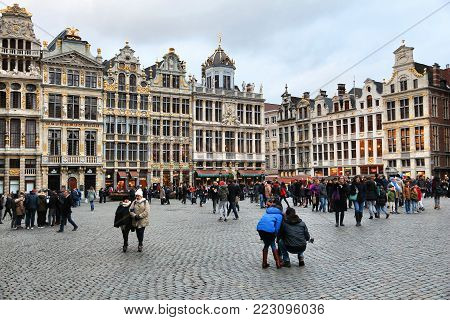 Brussels, Belgium - November 19, 2016: People Visit Brussels Grand Place (grote Markt) Square. Bruss