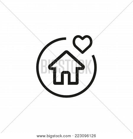 Icon of house property. Heart, dwelling, protection. Life conditions concept. Can be used for topics like property insurance, real estate, mortgage