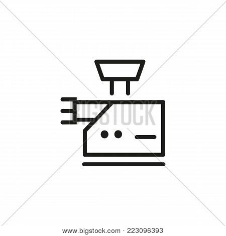 Icon of meat grinder. Chopping, mixing, mincing. Kitchen appliance concept. Can be used for topics like meat cooking, recipe, equipment