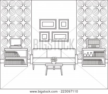 Room in line art. Retro living room interior 1960s. Linear illustration in flat design. Vecto. Thin line vintage home space with sofa, vinyl turntable and radio. Black, white furniture. Outline sketch