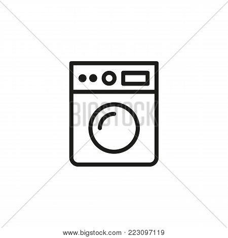 Icon of washing machine. Clothes washer, hygiene, routine. Appliance concept. Can be used for topics like laundry,  housework, cleaning