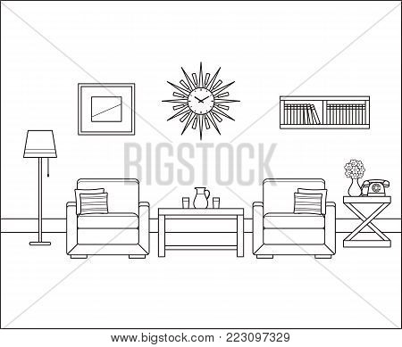 Room interior in line art. Retro living room. Vector. Linear vintage illustration. Thin line home space with armchairs, telephone, tables. Flat house equipment 60s. Outline sketch with furniture 70s.