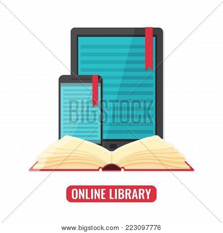 Computer tablet and smartphone with book reader application and open print book. Online library, e-books, digital book store, e-reading, online learning concept. Vector illustration.