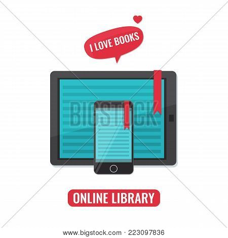 Computer tablet and smartphone with book reader application. I love books concept. Online library, e-books, e-reading, online learning concept. Vector illustration.