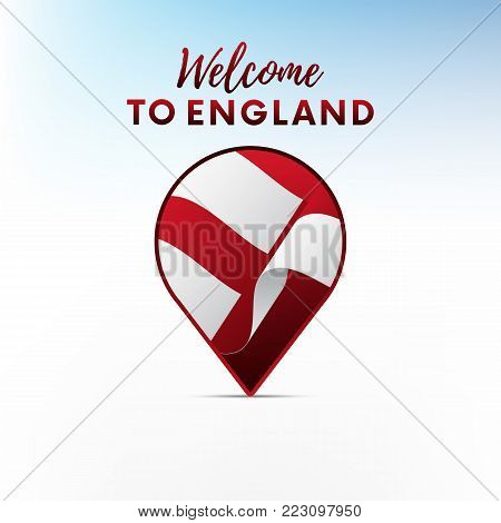 Flag of England in shape of map pointer or marker. Welcome to England. Vector illustration.