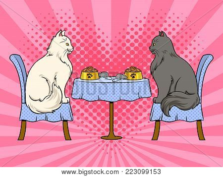 Cats on date in cat restaurant pop art retro vector illustration. Color background. Comic book style imitation.