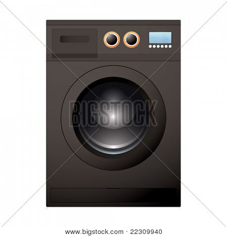 Modern black washing machine with bright LCD screen