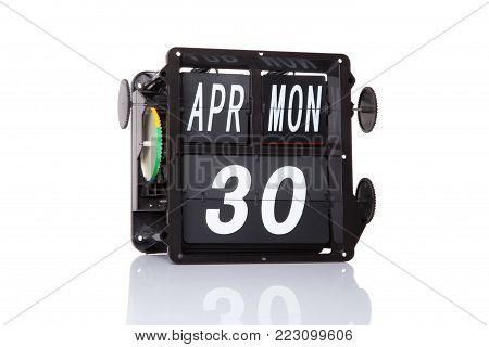 Mechanical Calendar Retro Date Isolated.