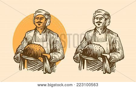 Bakery, pastries concept. Cook or baker with hot bread in hands. Sketch vector
