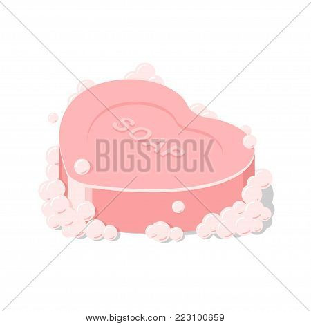 Vector isolated pink soap heart shape, Icon soap suds, bar of soap for washing hands and body in isometric. Vector illustration on white background