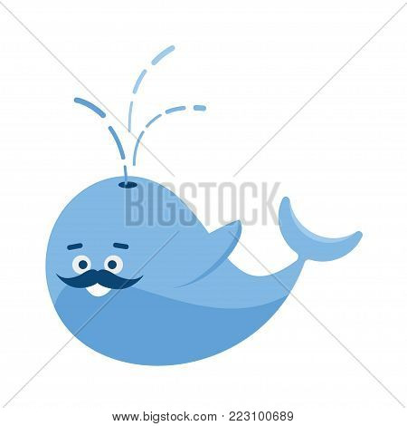 vector blue whale smiling into his mustache. whale character greeting raised his flippers. Whale in love. festive concept for the World Whale and Dolphin day  background