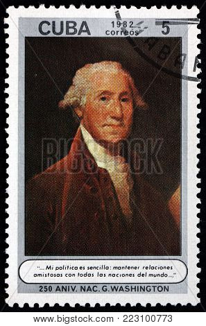 CUBA - CIRCA 1982: a stamp printed in Cuba shows George Washington, was an American statesman and soldier who served as the first President of the United States from 1789 to 1797, circa 1982