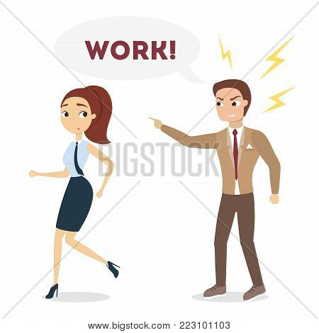 Male boss shouting at female employee to go working.