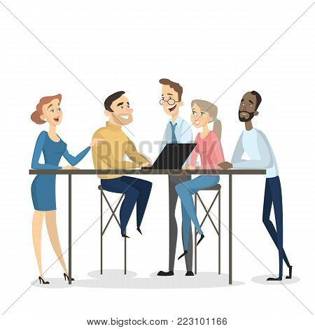 Brainstorming activity together. Men and women sitting at the table and discussing on white.