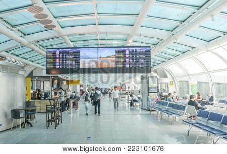 Santos Dumont Airport, Rio de Janeiro, Brazil - Dec 22, 2017: Departure lounge at Rio de Janeiro, Brazil's Santos Dumont Airport servicing domestic flights