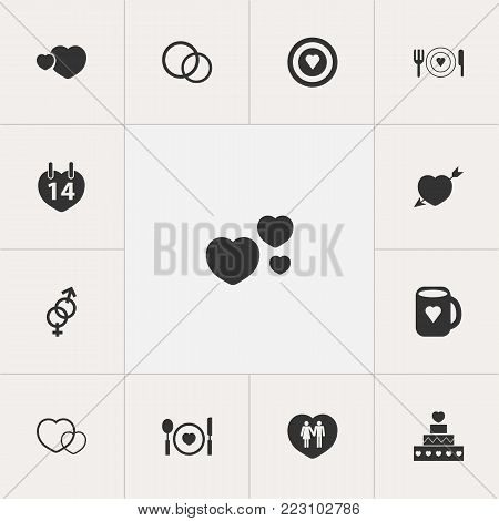 Set of 13 editable passion icons. Includes symbols such as gender, romantic, soul and more. Can be used for web, mobile, UI and infographic design.