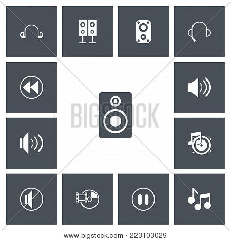 Set of 13 editable sound icons. Includes symbols such as musical sign, sound, sound loudspeaker and more. Can be used for web, mobile, UI and infographic design.