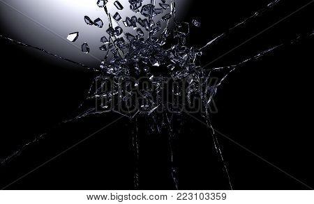 3D illustration of destructed or shattered glass surface over black background.