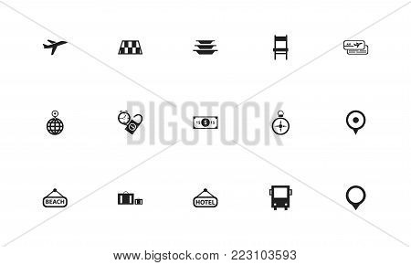 Set of 15 editable travel icons. Includes symbols such as pin, roadblock, dollar and more. Can be used for web, mobile, UI and infographic design.