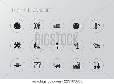 Set of 15 editable building icons. Includes symbols such as builder, hoisting machine, factory and more. Can be used for web, mobile, UI and infographic design.