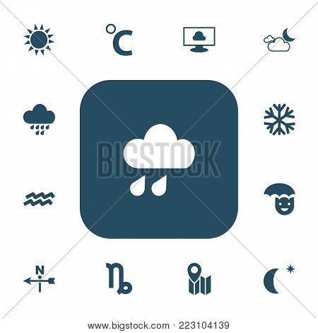 Set of 13 editable climate icons. Includes symbols such as celestial, crescent with star, breeze vane and more. Can be used for web, mobile, UI and infographic design. poster