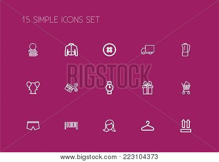 Set of 15 editable business icons line style. Includes symbols such as specie, truck, coat and more. Can be used for web, mobile, UI and infographic design.