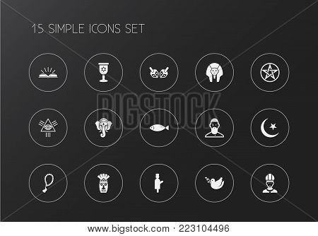 Set of 15 editable religion icons. Includes symbols such as eye of providence, dove, baphomet symbol and more. Can be used for web, mobile, UI and infographic design.