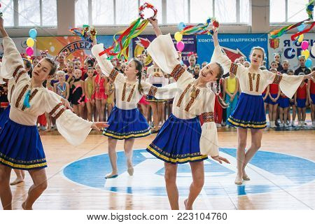 Kamenskoye, Ukraine - March 9, 2017: demonstration dance performance at the championship in cheerleading