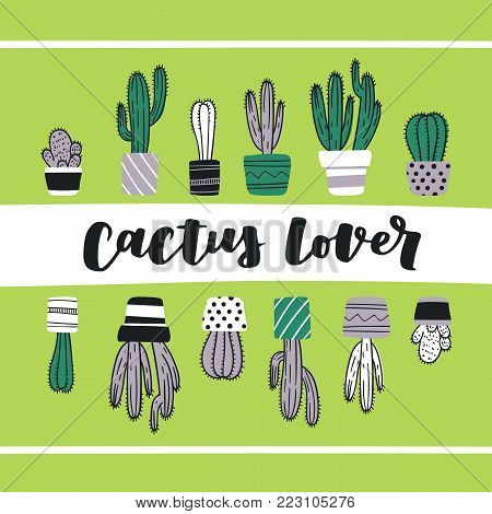 Cute hand drawn card with cactus and lettering Cactus Lover. Cartoon style vector illustration in modern color theme. Collection of cactuses and succulent in flower pots.