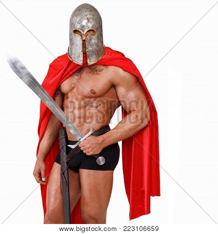 Image of armed warrior who is ready to fight