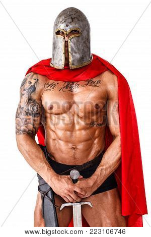 Image of calm warrior who is standing with his sword