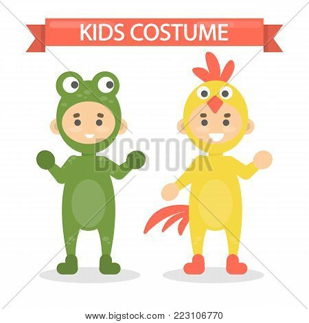 Kids costumes set. Babies in animal outfit. Frog and rooster.