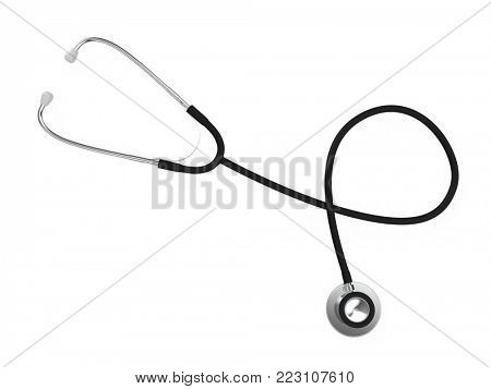 Medical Stethoscope Isolated on White Background. Top View. Medicine Industry Concept. 3D Illustration.
